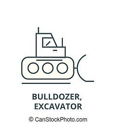 plat, concept, contour, excavateur, bulldozer, signe, illustration, symbole, vector., icône, ligne
