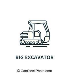 plat, concept, contour, excavateur, signe, grand, illustration, symbole, vector., icône, ligne
