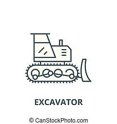 plat, concept, contour, excavateur, signe, illustration, symbole, vector., icône, ligne