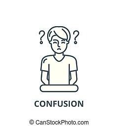 plat, concept, contour, signe, confusion, illustration, symbole, vector., icône, ligne