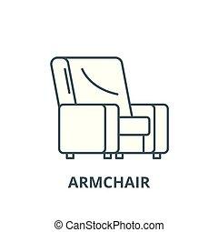 plat, concept, contour, signe, fauteuil, illustration, symbole, vector., icône, ligne