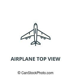 plat, concept, contour, signe, sommet, illustration, symbole, vector., icône, avion, ligne, vue