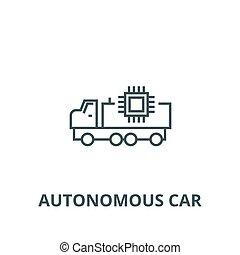 plat, concept, contour, signe, voiture, illustration, symbole, vector., icône, autonome, ligne