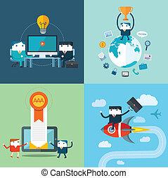 plat, concept, ensemble, business, vecteur, conception