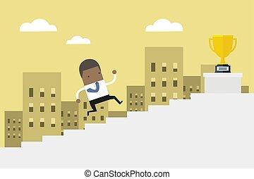 plat, concept, escalier, business, gagner, coût, haut, courant, vector., africaine, homme affaires, homme