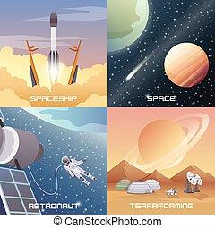 plat, concept, espace, conception, exploration, 2x2