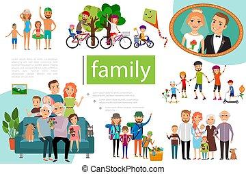 plat, concept, famille, heureux