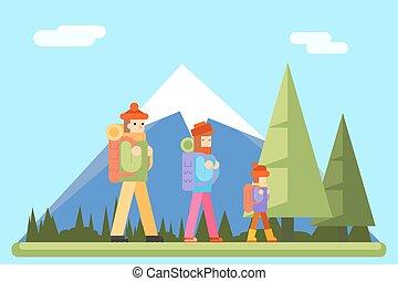 plat, concept, famille, montagne, illustration, automne, vecteur, conception, forêt, fond, voyage, icône