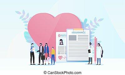 plat, concept, famille, vecteur, assurance maladie