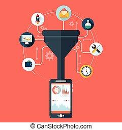plat, concept, filtre, tunnel, grand, concepts, illustration, créatif, conception, analyse, processus, données