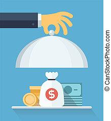 plat, concept, financieel, dienst, illustratie