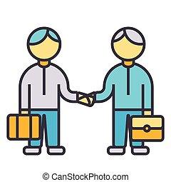 plat, concept, fonctionnement, poignée main, association, isolé, ensemble, vecteur, illustration, ligne, icône