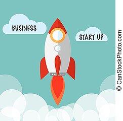 plat, concept, fusée, business, haut, début, vecteur