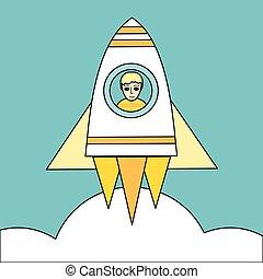 plat, concept, fusée, espace, lancement, vecteur, design.
