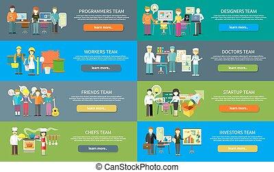 plat, concept, gens, travail, métier, conception, équipe