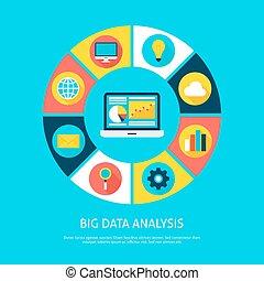 plat, concept, grand, analyse, infographic, données