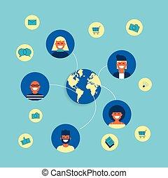 plat, concept, groep, netwerk, sociaal, ontwerp, internet
