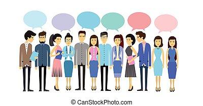 plat, concept, groupe, business, foule, gens, communication, asiatique, bavarder, social, bulle, désinvolte, réseau
