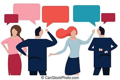 plat, concept, groupe, gens, communique, illustration, communication, business, vecteur, par, acquaintance., internet, réseaux, discuter, nouvelles, social