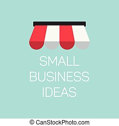 plat, concept, handel illustratie, alhier, kleine, spandoek, winkel