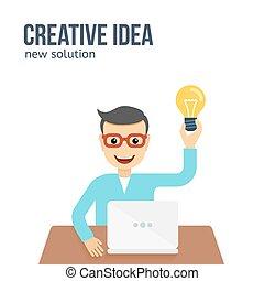 plat, concept., idée, illustration, créatif, vecteur, nouveau