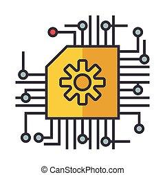 plat, concept, illustratie, intelligentie, vrijstaand, kunstmatig, ai, vector, lijn, microscheme, pictogram