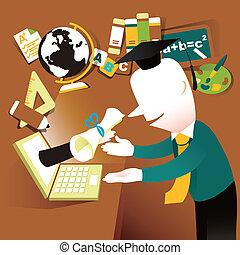 plat, concept, illustratie, ontwerp, online, e-leert, opleiding