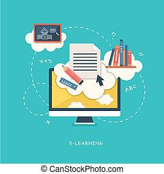 plat, concept, illustratie, ontwerp, online onderwijs