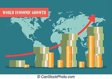 plat, concept., illustration, économique, vecteur, croissance, mondiale, design.