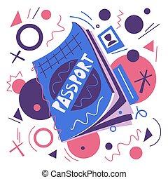 plat, concept., illustration, air, vecteur, dessin animé, passport., voyage