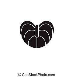 plat, concept, illustration, anthurium, signe, vecteur, noir, icon.