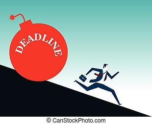 plat, concept, illustration., business, bombe, courant, vecteur, homme affaires, deadline.