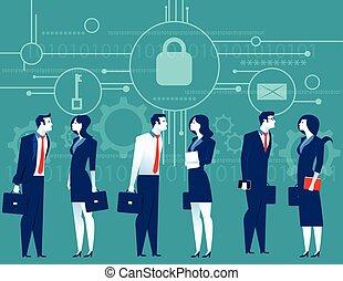 plat, concept, illustration., business, cybersecurity., security., vecteur, réunion