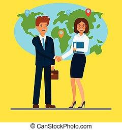 plat, concept, illustration., business, femme affaires, gens., map., vecteur, mains, devant, homme affaires, secousse