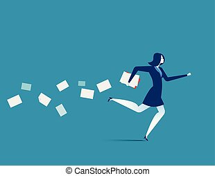 plat, concept, illustration., business, hâtif, femme affaires, vecteur, running.