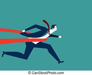 plat, concept, illustration., business, réussi, ligne., vecteur, homme affaires, finir