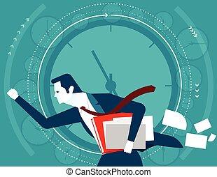 plat, concept, illustration., business, time., vecteur, homme affaires, hâte