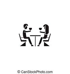 plat, concept, illustration, couple, restaurant, signe, vecteur, noir, icon.