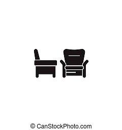 plat, concept, illustration, deux, signe, vecteur, noir, fauteuils, icon.