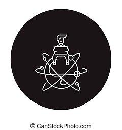 plat, concept, illustration, global, signe, entrepreneur, vecteur, noir, icon.