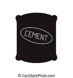 plat, concept, illustration, sac, signe, vecteur, noir, ciment, icon.