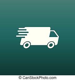 plat, concept, illustration., service, pictogramme, simple, commercialisation, app, jeûne, business, livraison, mobile, vecteur, camion, expédition, internet, icon., ou