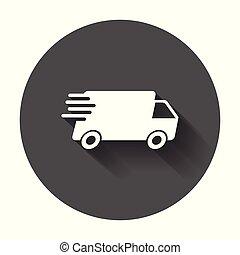 plat, concept, illustration., service, pictogramme, simple, commercialisation, app, ou, jeûne, business, livraison, mobile, vecteur, camion, long, expédition, internet, icon., shadow.