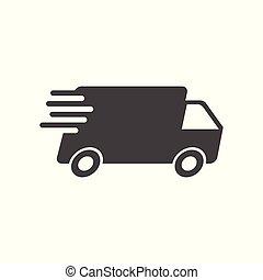 plat, concept, illustration., service, pictogramme, simple, commercialisation, app, ou, jeûne, business, livraison, arrière-plan., vecteur, camion, mobile, expédition, internet, blanc, icon.