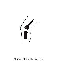 plat, concept, illustration, signe, vecteur, noir, genou, ...