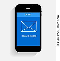 plat, concept, illustration, vecteur, inbox, courrier