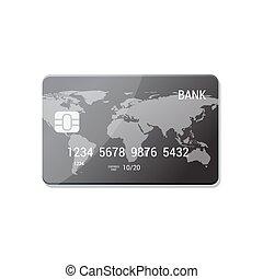 plat, concept, isolé, style., crédit, vecteur, argent, icon., paiement, carte
