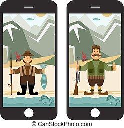 plat, concept, jager, illustratie, vector, ontwerp, visser, smartphone.