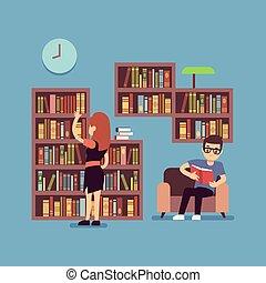plat, concept, kamer, levend, paar, -, jonge, bibliotheek, boekjes , lezende , of