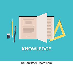 plat, concept, kennis, illustratie